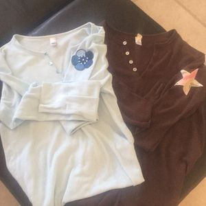 2 great thin Henley's with embroidered patch